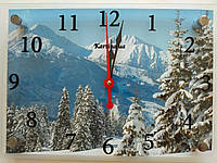 Часы-картина 25x35 см, под стеклом, лес, горы, Зима