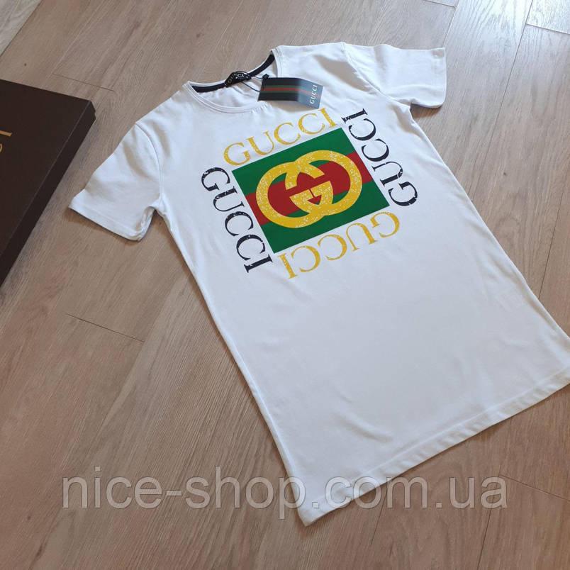Футболка Gucci мужская белая с логотипом XL, фото 2