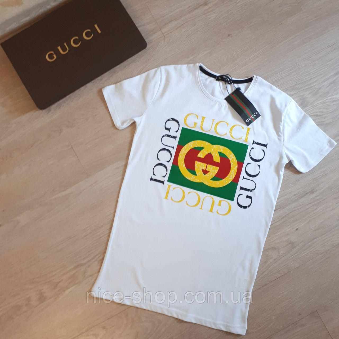 Футболка Gucci мужская белая с логотипом XL