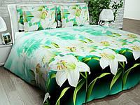 Бязь Gold Белые лилии на зеленом 1076-1