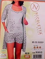 Комплект женские пижама тройка майка шорты халат Турция