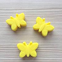 Бабочка (силиконовая бусина), желтый