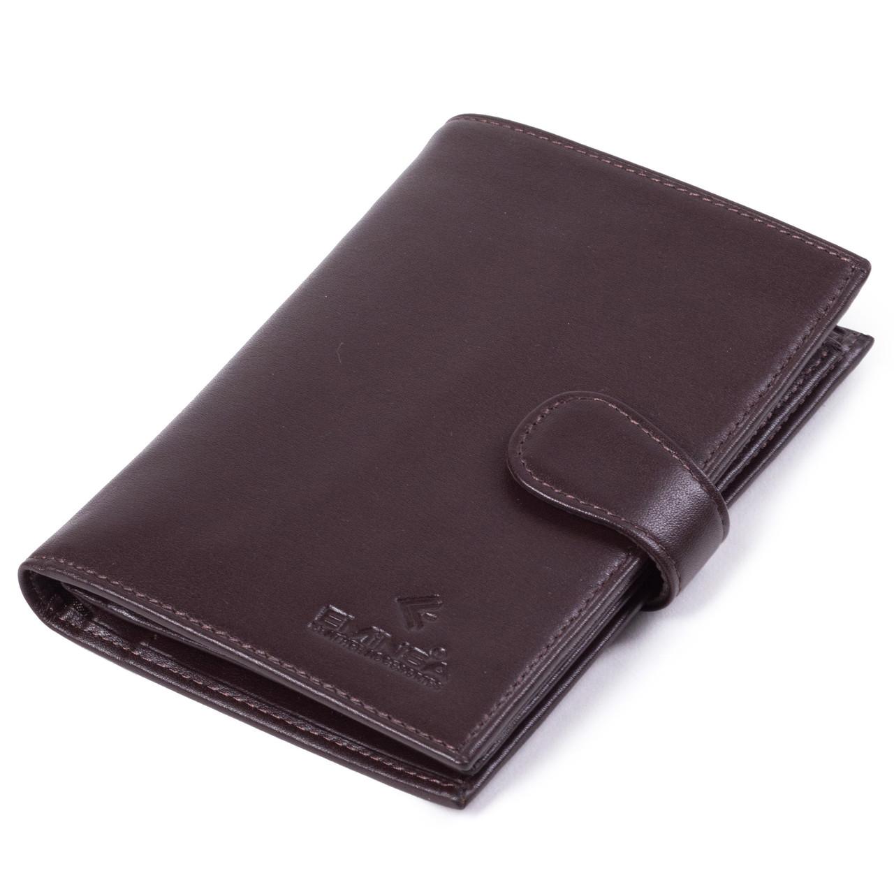 Мужское портмоне Eminsa 1001-19-3 кожаное с отделением для паспорта коричневое