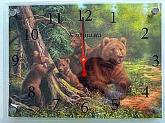 Часы-картина 30x40 см, под стеклом, медведи, лес