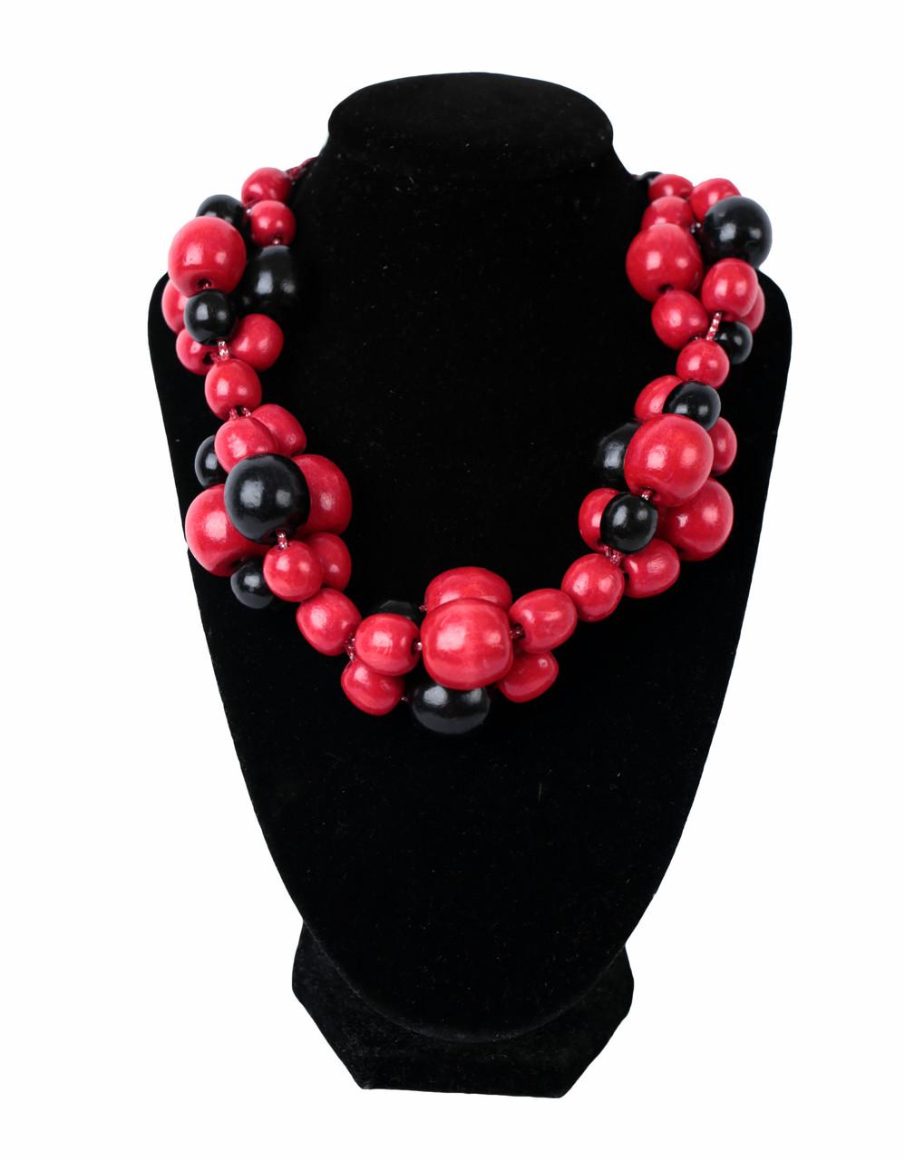 Намисто дерев яне червоно-чорне  продажа fec8cec788afa