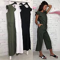 Комбинезон женский с укороченными брюками кюлоты разные цвета Kld909
