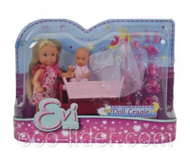 Кукольный набор Эви с малышом в кроватке, 2 вида, 3+