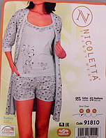 Комплект женские пижама тройка майка шорты халат  Турция XL