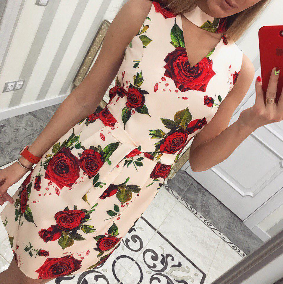 Лёгкое летнее платье Розы (персик)