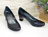 """Туфли женские на каблуке из натуральной кожи синего цвета. ТМ """"Maestro"""", фото 2"""