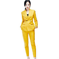 Стильный желтый  костюм, фото 1