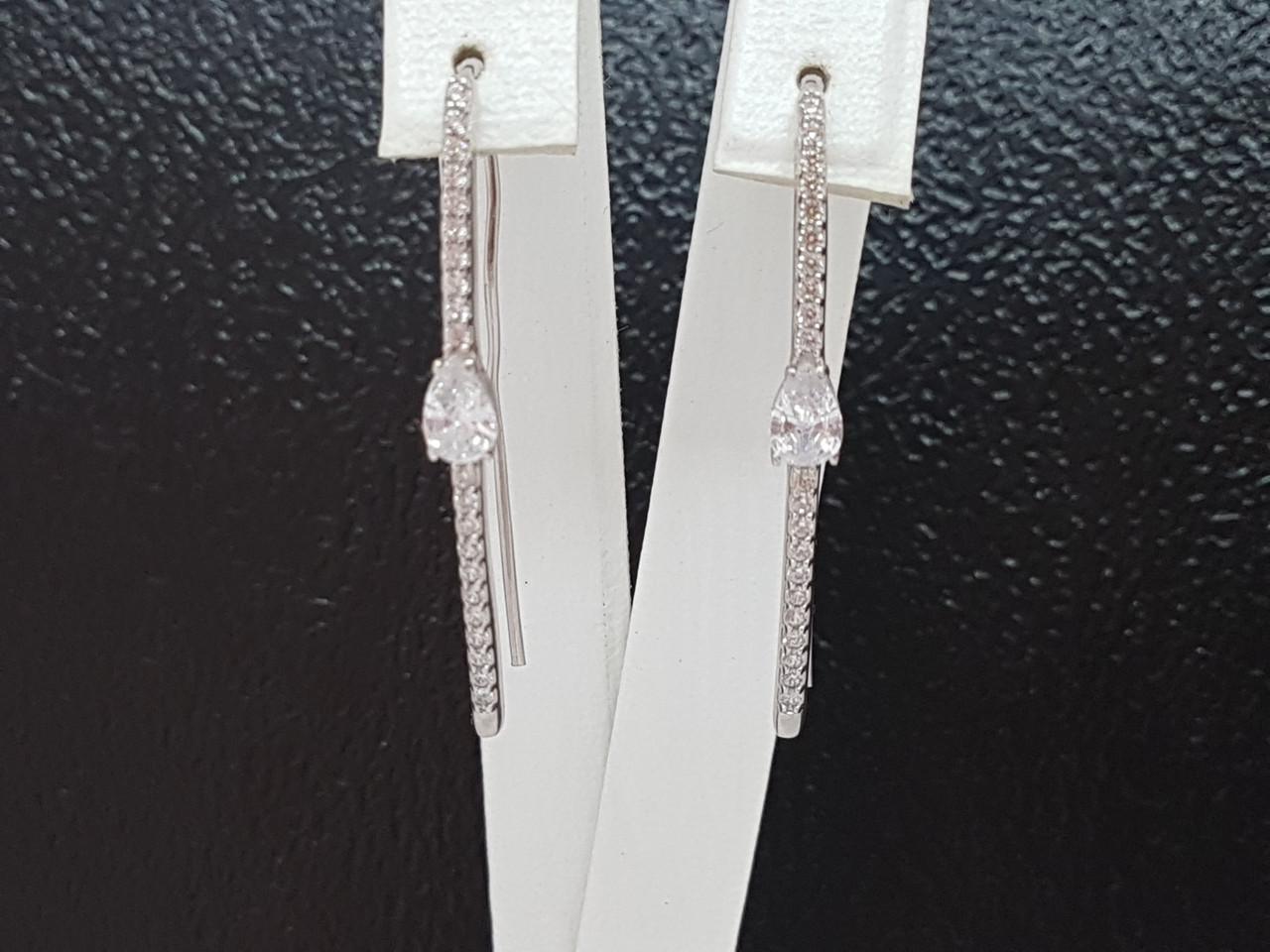 Серебряные серьги Лаунж. Артикул 2905/9Р-CZ