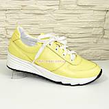 Туфли женские кожаные на утолщенной белой подошве, цвет желтый., фото 5