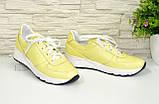 Туфли женские кожаные на утолщенной белой подошве, цвет желтый., фото 6
