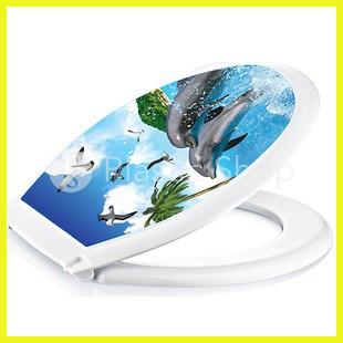 Крышка на Унитаз с рисунком Дельфины