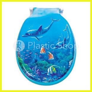 Крышка на унитаз мягкая с рисунком Дельфины