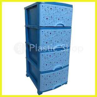 Комод пластиковый Эфе ажурный голубой