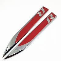 """3D эмблема  """"R"""" ЛЕЗВИЕ на крыло:  комплект 2шт - красные"""