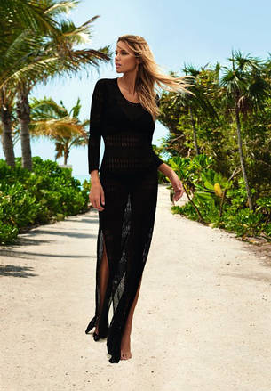 Пляжное платье чёрное длинный рукав 146-26, фото 2