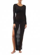Пляжное платье чёрное длинный рукав 146-26, фото 3