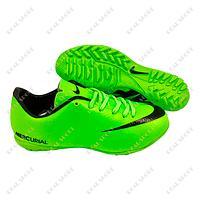 Обувь футбольная бампы (сороконожки) Nike Mercurial Green FB180021 (р-р 36-41, салатовый)