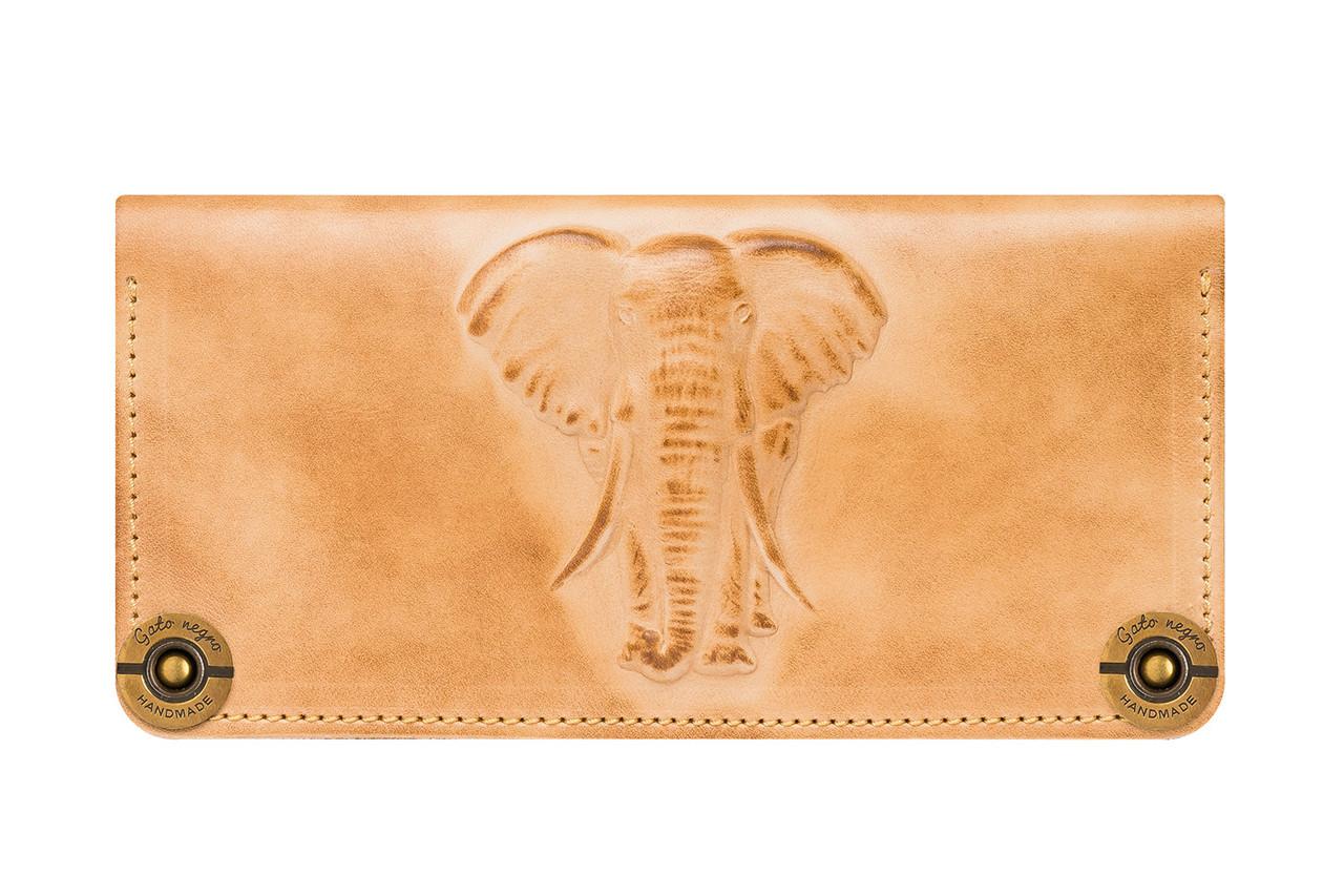 """Кошелек женский кожаный вместительный на латунных кнопках """"Elephant"""""""