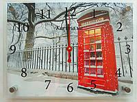 Часы-картина 30x40 см, под стеклом, зима, телефонная будка