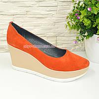 Туфли женские оранжевые замшевые на устойчивой платформе. 36 размер