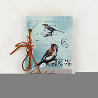 Блокнот голубой с птицами