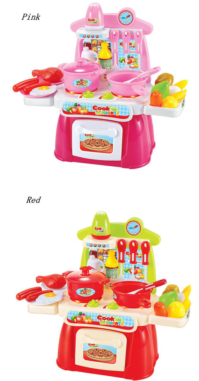 Детская кухня фрукты овощи посуда 22 шт имитация огня
