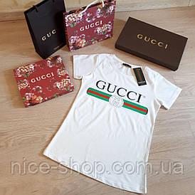Футболка женская Gucci белая с логотипом