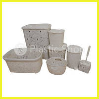 Набор для ванной комнаты Ажурный Кремовый ELIT 7в1
