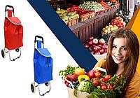 Хозяйственная сумка-тележка, кравчучка SQ53AS, 35 л синяя, красная