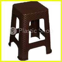 Плетеная пластиковая табуретка Тёмно-коричневая