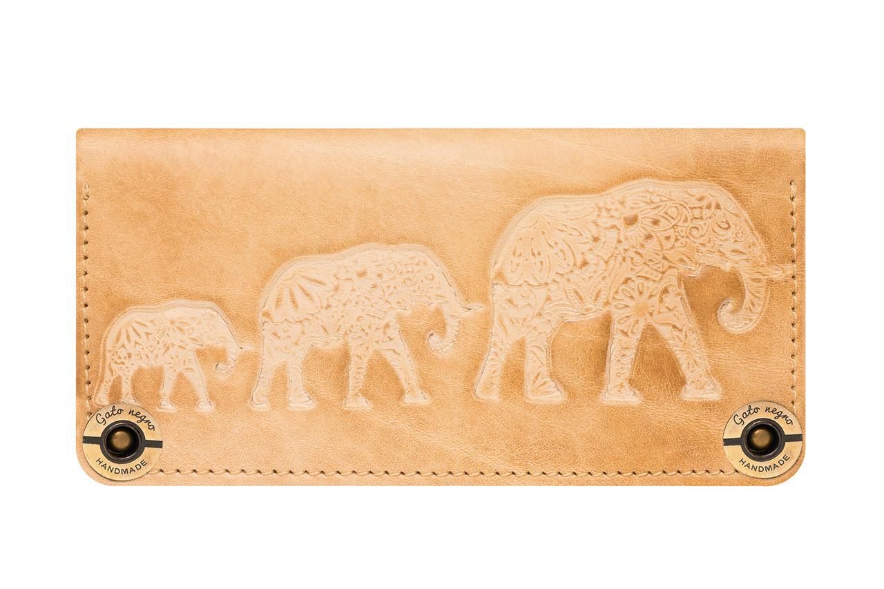 """Кошелек женский кожаный вместительный на латунных кнопках """"Three Elephants"""""""