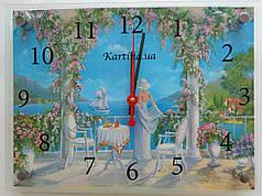 Часы-картина 30x40 см, под стеклом, девушка, море, корабль