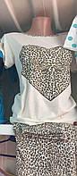 Пижама для сна женская леопардовая футболка с штанами