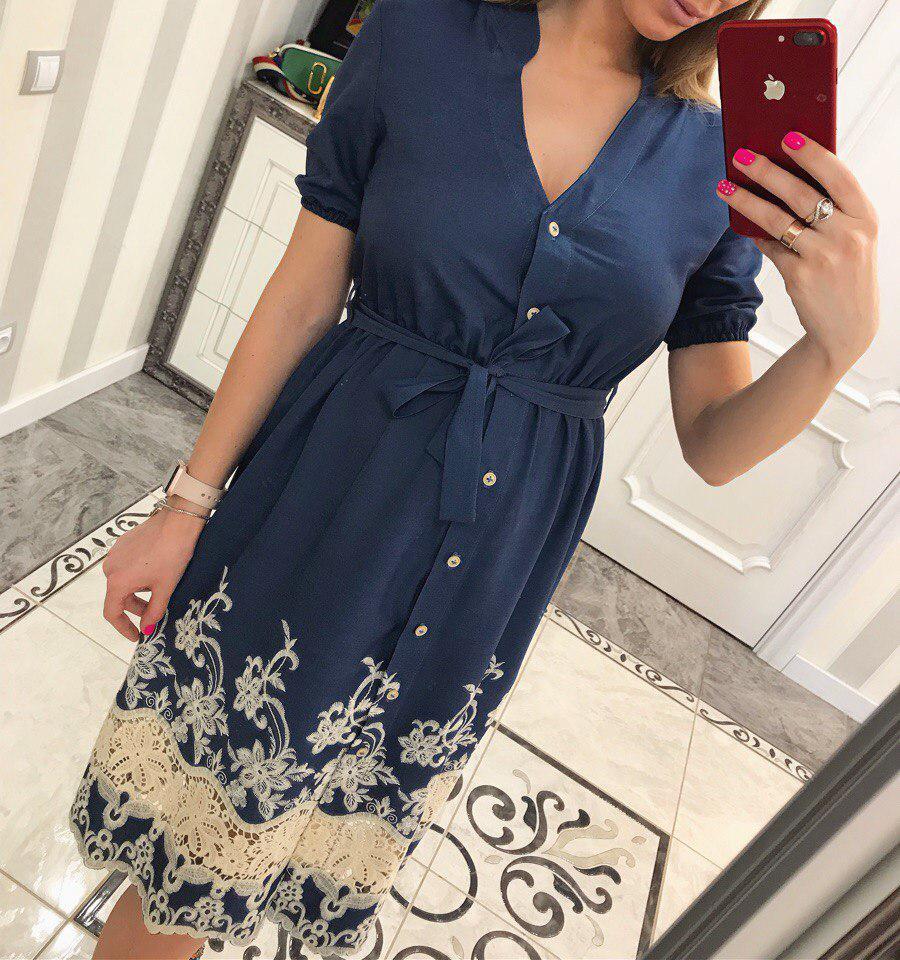 Платье летнее из тонкого джинса с  кружевом(принт 3)
