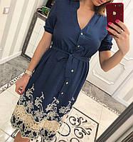 Платье летнее из тонкого джинса с  кружевом(принт 3), фото 1