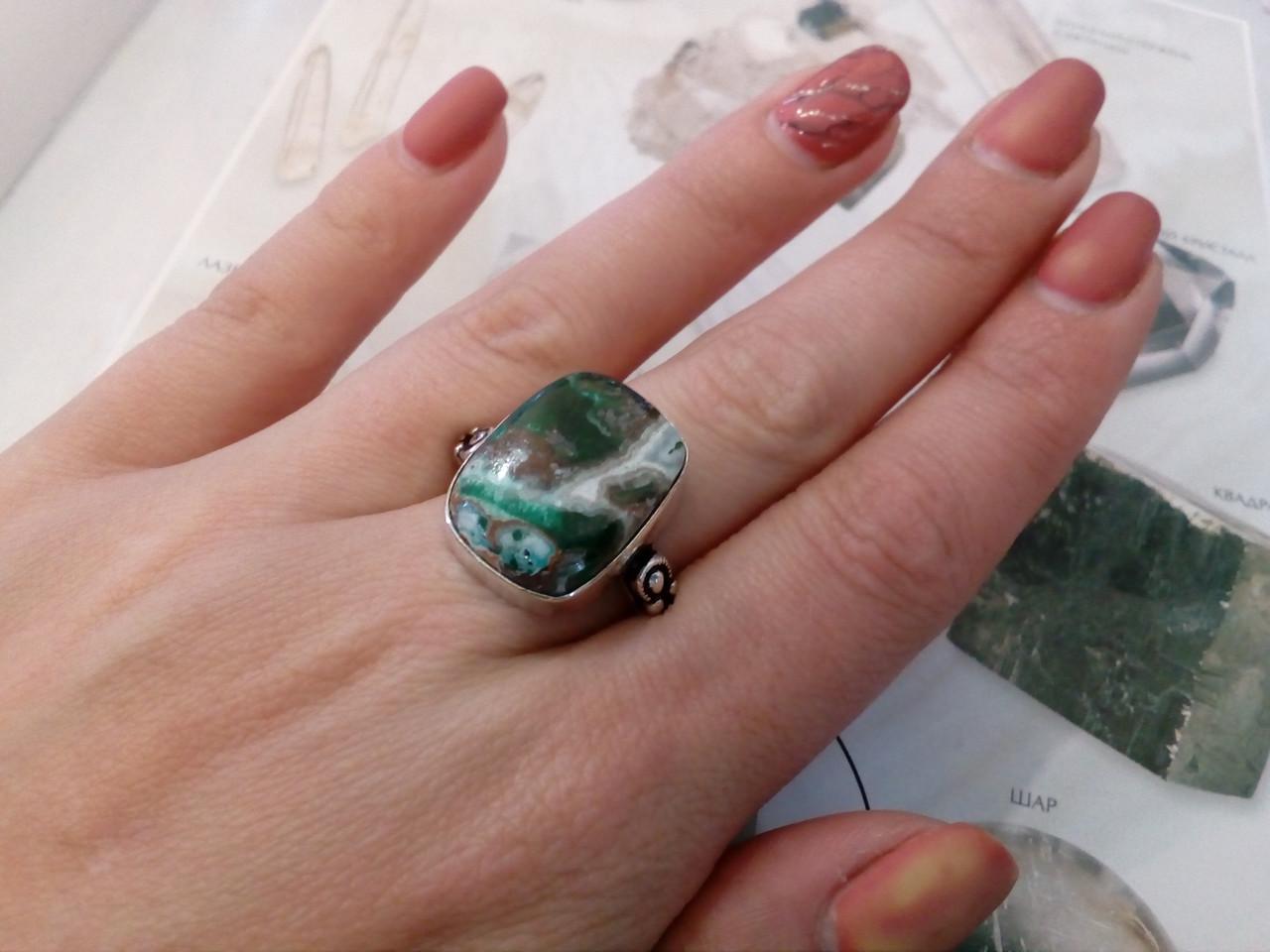 Красивое кольцо малахитовая хризоколла в серебре. Перстень с хризоколлой 19,5-19,7 размер Индия