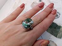 Красивое кольцо малахитовая хризоколла в серебре. Перстень с хризоколлой 19,5-19,7 размер Индия, фото 1
