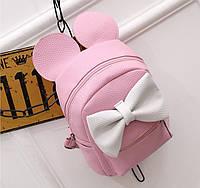 Женский рюкзак маленький розовый с бантиком из экокожи