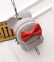 Женский рюкзак маленький серый с бантиком из экокожи