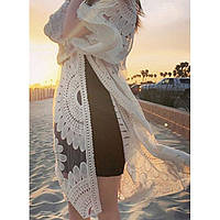 Пляжный халат белый гипюр 146-33