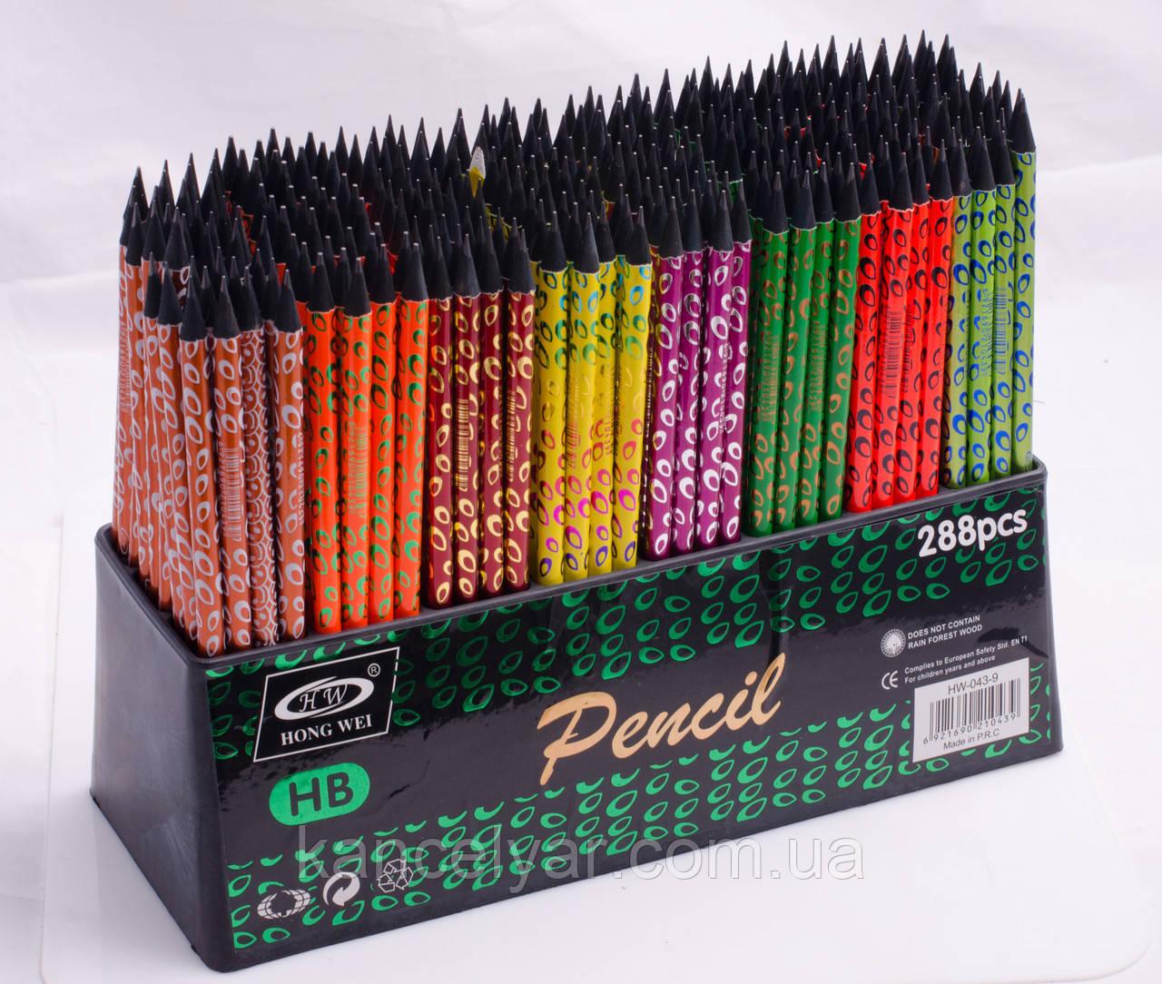 Олівець чорнографітний з гумкою, HB, вензелі і неон, в асортименті