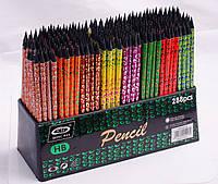 Олівець чорнографітний з гумкою, HB, вензелі і неон, в асортименті, фото 1