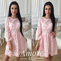 Платье нежное красивое прошва разные цвета Sml2308