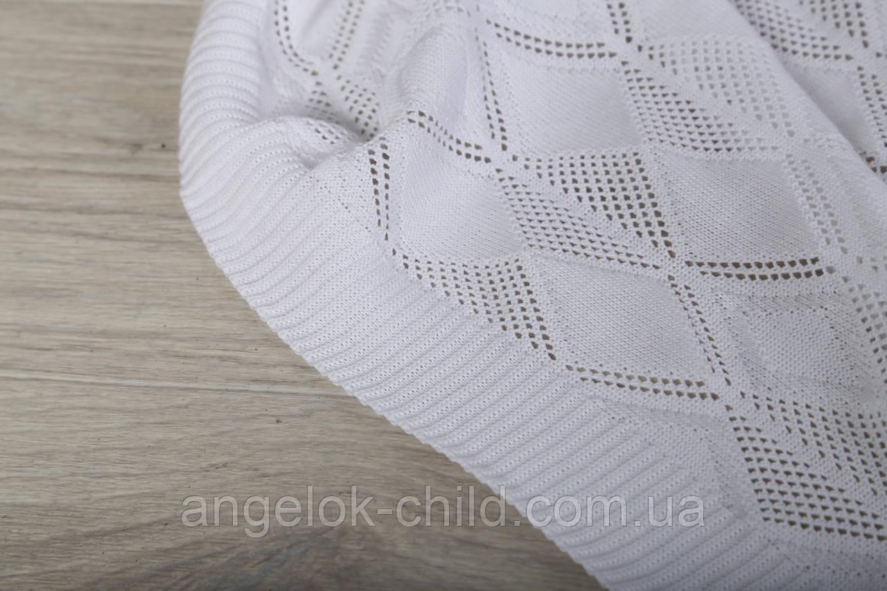 летний детский вязаный плед ромб ажурный детский пледик цена 380