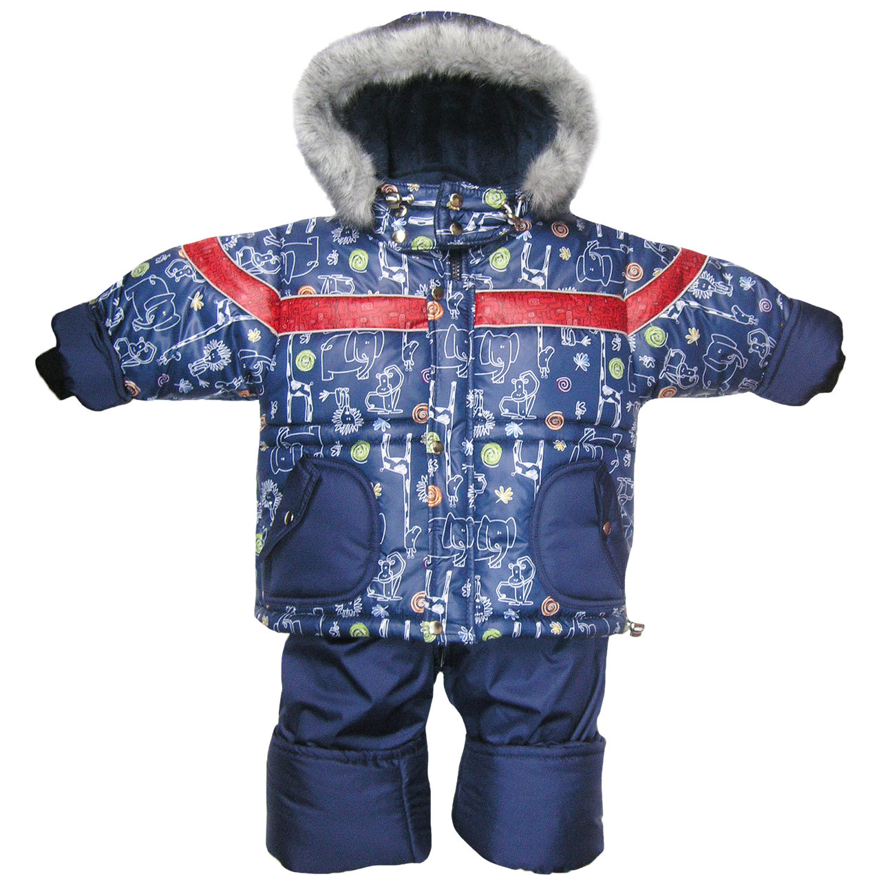 Детский зимний термокомбинезон: штаны и куртка на флисе и отстегивающейся овчине, р.98 РСЦ1