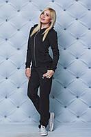 Спортивный костюм женский с брюками черный, фото 1